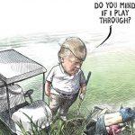 ٹرمپ کی  ہلاک باپ، بیٹی کی تصویر پر گولف کھیلنے کی ڈرائنگ وائرل