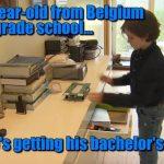 نوسالہ بیلجیئن بچہ الیکٹریکل انجینئرنگ میں پی ایچ ڈی کے لیے تیار