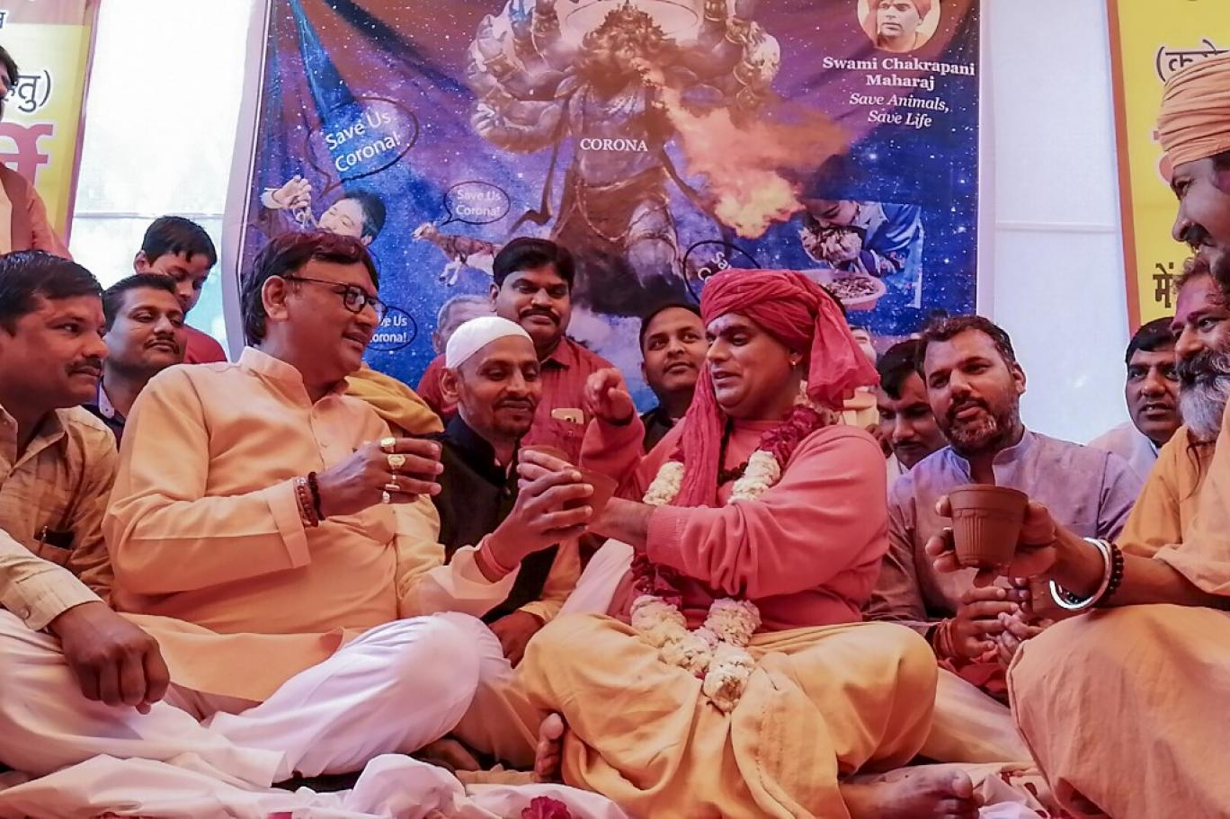 بھارت میں ہندو گائے کے پیشاب سے کرونا کا علاج کرنے لگے