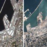 بیروت دھماکوں کے بعد سیٹلائٹ تصاویر جاری