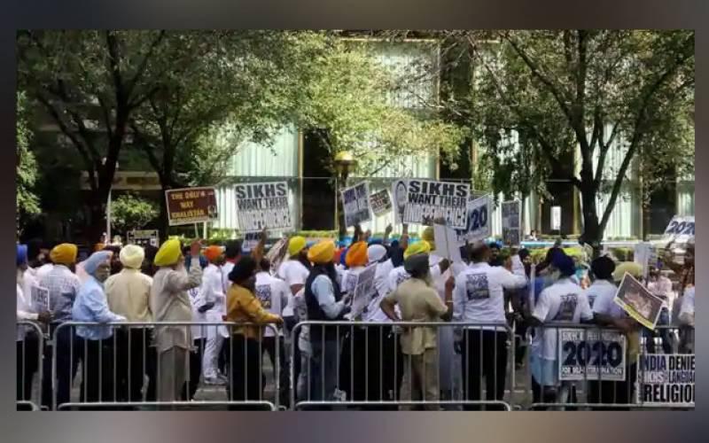 نیویارک میں سکھوں کا ہندوستانی قونصل خانے کا گھیرائو،عملہ محصور